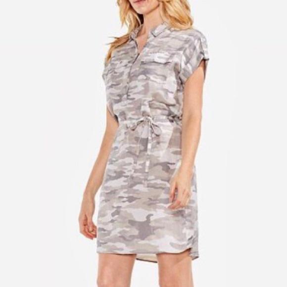 536034474b21e Vince Camuto Dresses | Gray Camouflage Shirt Dress M Nwt | Poshmark